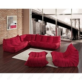 Microfiber sectional sofa with ottoman 1