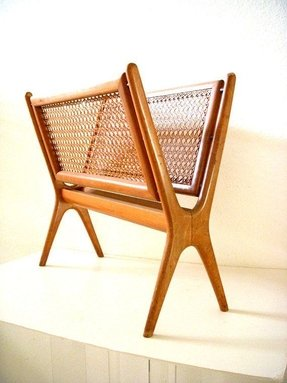 Mid century modern wood and cane