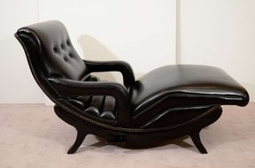 Mid century reclining chaise lounge black leather