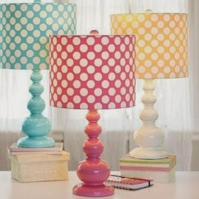 Polka dot lamp shades foter pink and white polka dot lamp shade aloadofball