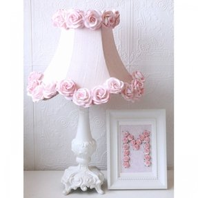Pink dupioni silk roses table lamp shabby cottage chic nursery