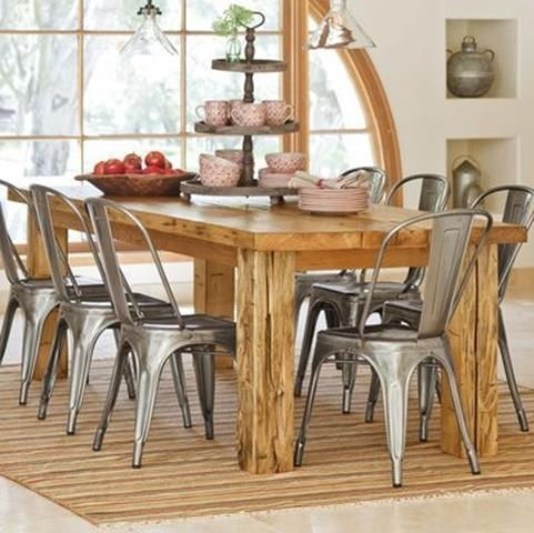 Attractive Reclaimed Wood Table W Vintage Metal Chairs