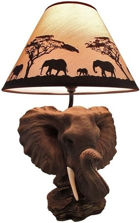 Safari light elephant head table lamp with silhouette shade eclectic
