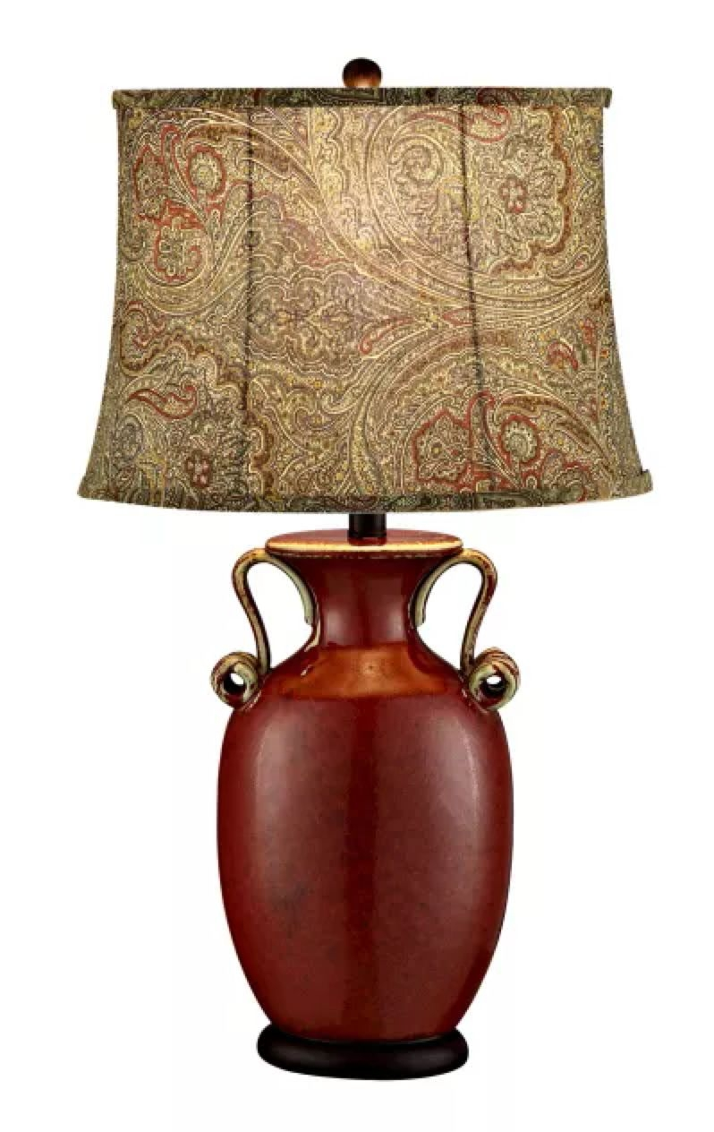 Serta French Country Red Ceramic Table Lamp Print Shade 27 H