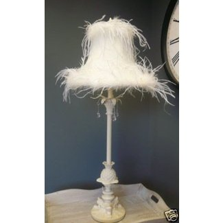 Tall cream feather lamp