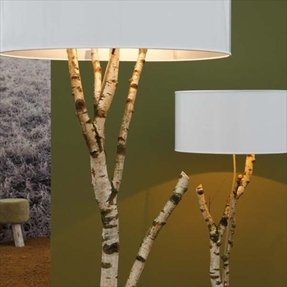Tree branch lamp base