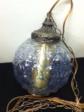 Vintage clear glass globe hanging chain lamp tested works
