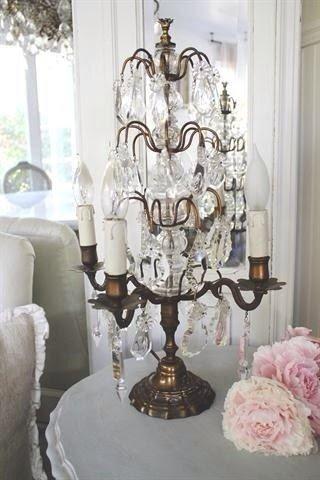 Vintage Crystal Table Lamp Girandole