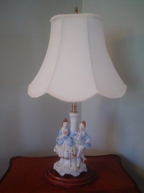 Vintage mid century antique porcelain lamp man woman