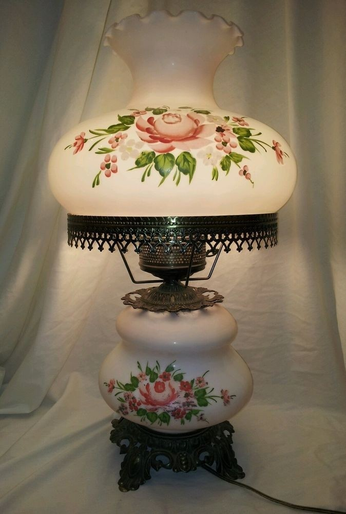 Vintage Hand Painted Milk Glass Electric Table Lamp Sale Price Decorative Arts