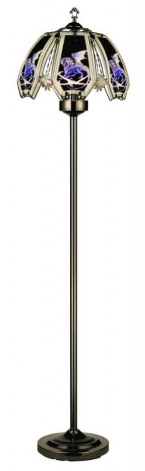 61''H NEW Glass Ice Dragon Touch Floor Lamp comes with Dark Chrome Finish Base