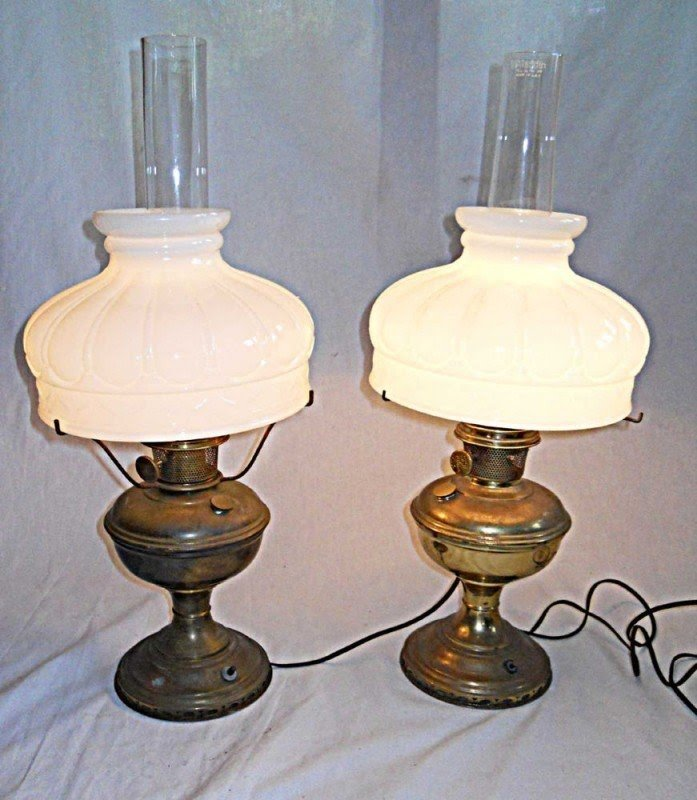 Aladdin lamps vintage brass pair oil electric original white glass