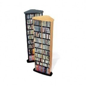 Compact corner cd storage tower oak