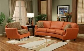 Curved leather sofa 3
