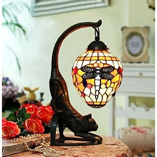 Makenier Vintage Tiffany Style Stained Glass Red Dragonfly Table Lamp with Cat Base, 6 Inches Closed Lampshade