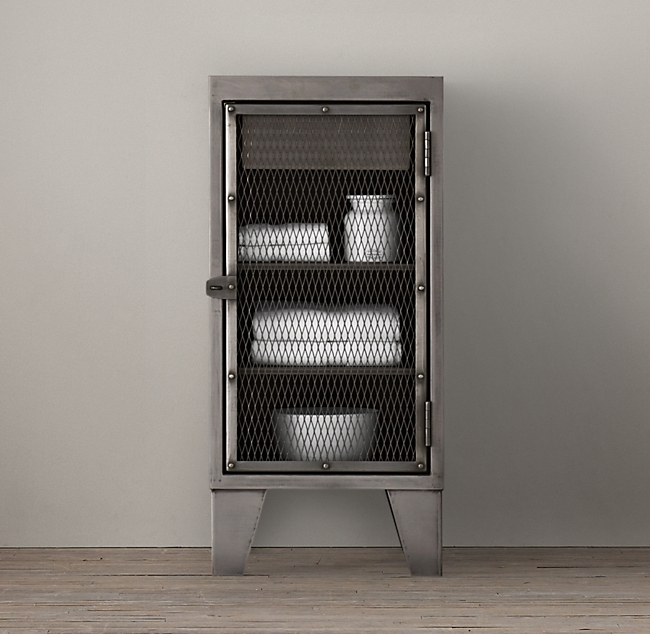 Metal Cabinet Circa 1900 French Linen Factory Short Bath Cabinet