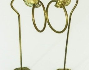 Pair of vintage brass hand towel rings stands holders hangers