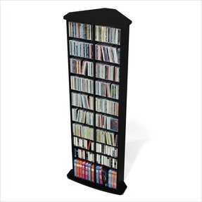 Prepac corner multimedia cd dvd storage tower in black on