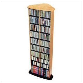 Prepac corner multimedia cd dvd storage tower in oak and