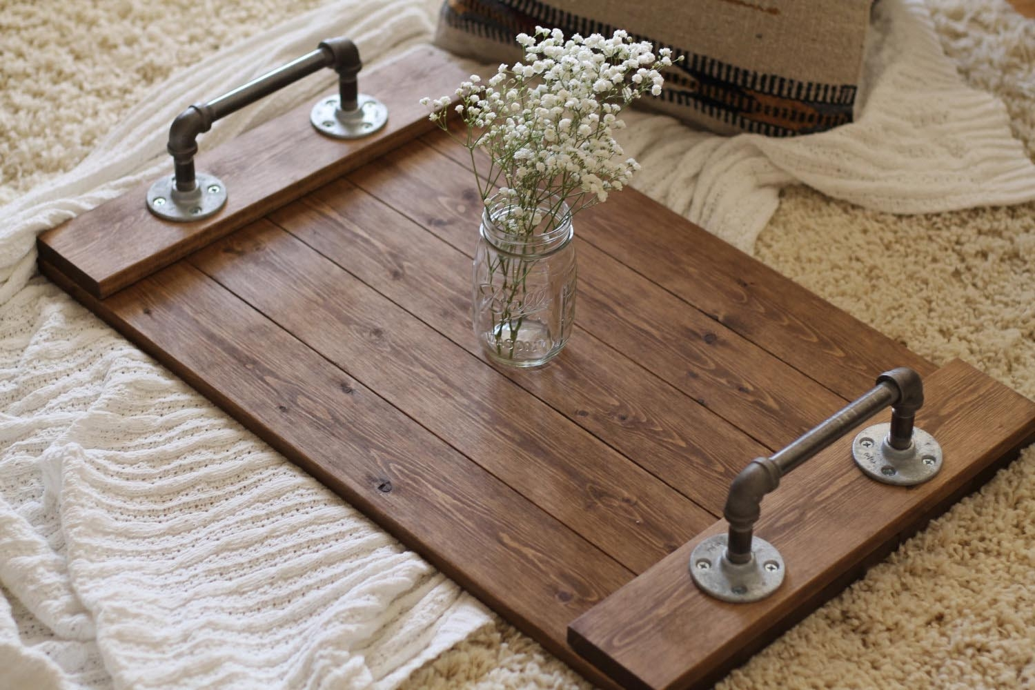 Rustic industrial tray wooden tray