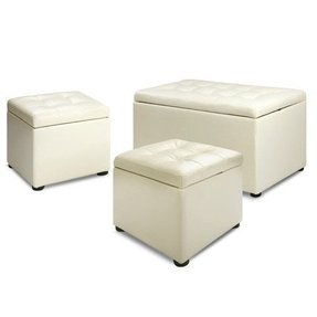 Set of 3 storage chests blanket boxes ottoman w cushion