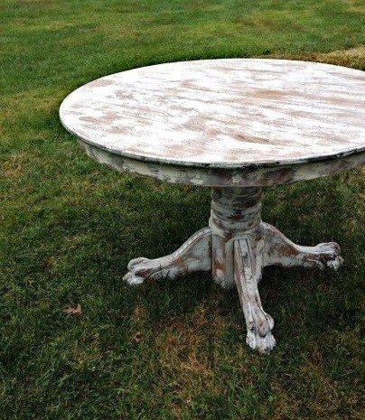 Beautiful Shabby Chic Pedestal Dining Table. Isabella Marti. 249. Round Whitewashed  ...