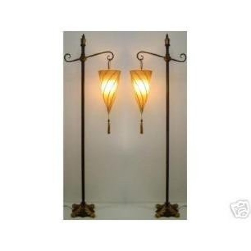 Spiral Hanging Fabric Shade Floor Lamp Set Of 2