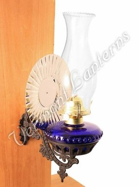 Victorian Oil Lamp - Cobalt Blue w/Reflector Wall Mount - Hurricane Lamps