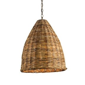 Wicker light brown lamp shades 2