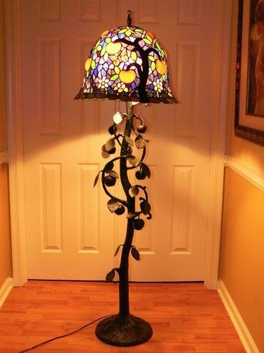 67 Pink Blossoms And Apples Tree Life Tiffany Style Stained Glass Floor Lamp