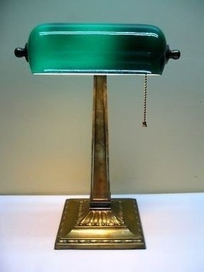 Antique early 1900s brass green cased glass shade banker library