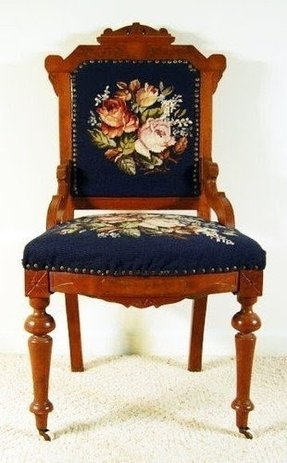 Antique Walnut Victorian Eastlake Ladys Needlepoint Chair 1