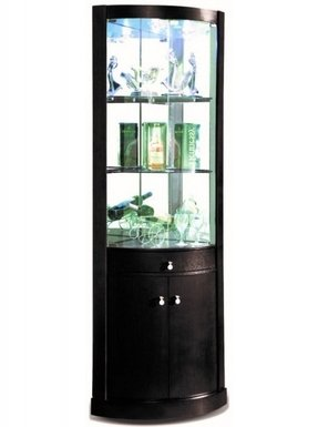 Corona black corner display cabinet black vaneer corner display