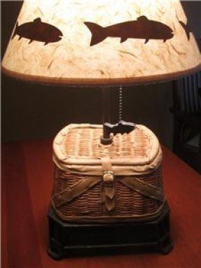 Fly fishing creel basket table lamp rustic lake cabin hunt