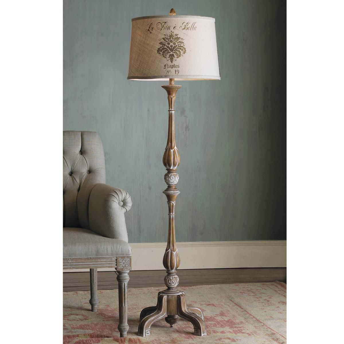 Superieur Floor Lamp That Introduces French Stylization Into The House. Its Post  Includes Some Decorative Carvings And The Bottom Area Features A Stable  Base With ...