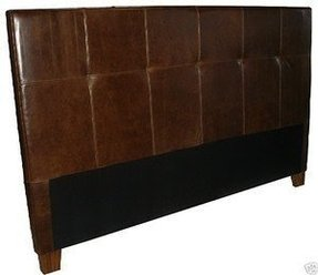 King size tufted headboard in espresso leather with double needle