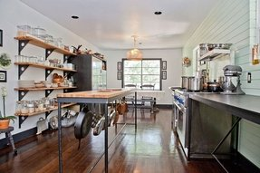 Kitchen island with pot rack 19
