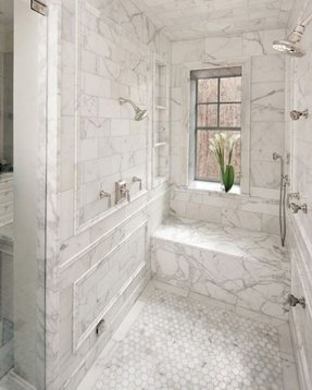 Masterbathroom love walk in shower with seat and shelve niches