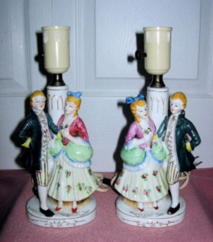 Matching Occupied Japan Victorian Porcelain Figurine Lamps By Tea Rose Fashion Eclectic Table Lamps