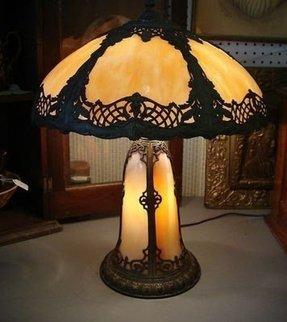Night light table lamp base foter old antique bent carmel slag glass table lamp lighted base aloadofball Choice Image