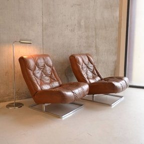 Original mid century 1970s brown leather