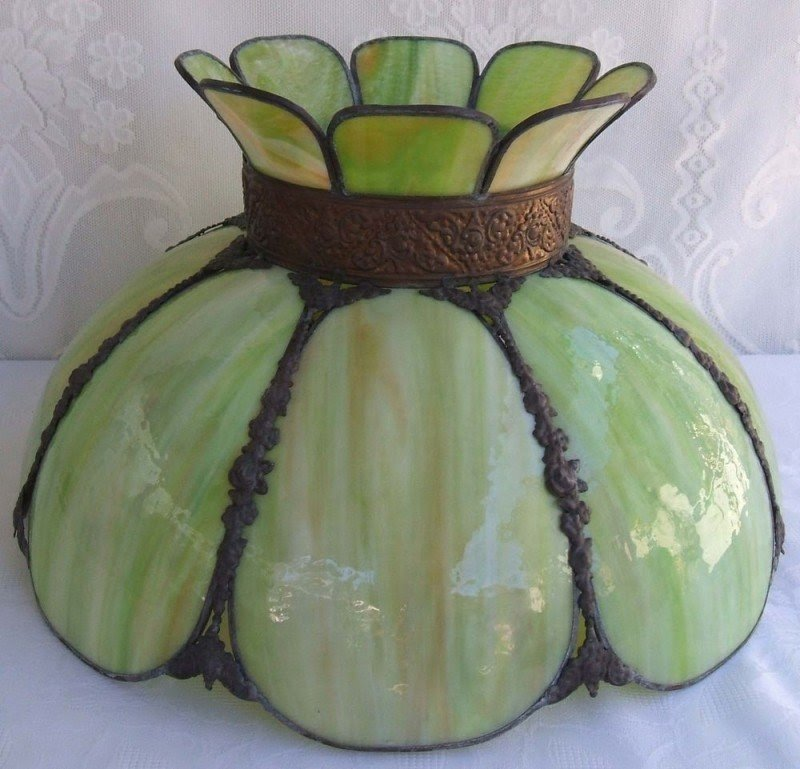 Rare antique stained slag glass lamp shade 8