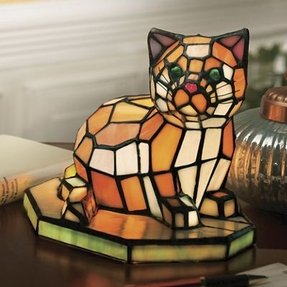 Stained glass cat lamp 1