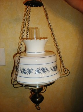 Vtg country colonial blue hurricane hanging ceiling lamp light milk