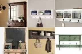 Wall mounted coat hooks with shelf