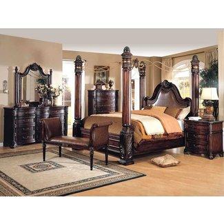 Four poster king bed sets ideas on foter for Antique white king size bedroom sets