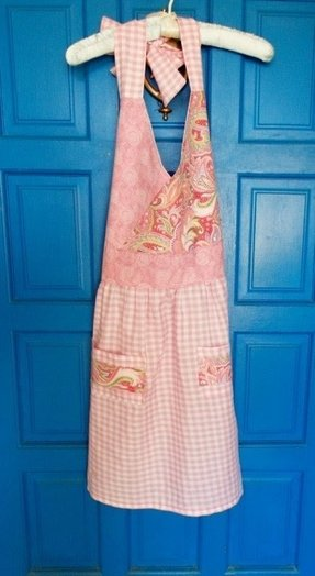 Apron full women pink gingham paisley pockets