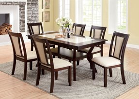 Furniture of america kateria duo tone 7 piece faux marble