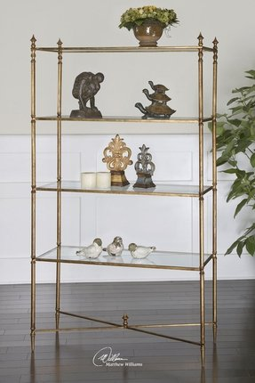 Glass etagere bookcase