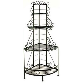 Grace collection 24 wrought iron french corner bakers rack